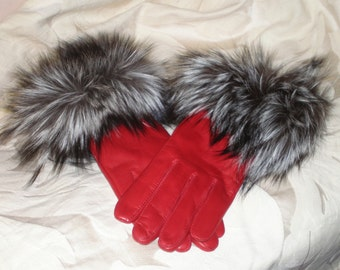 Red Leather Gloves with Silver Fox Fur Trim