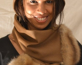100% Cashmere Scarf with Genuine Russian Sable Fur