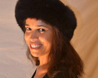 Dyed Black Genuine Fox Fur Headband