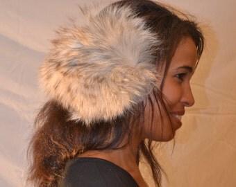 Genuine Bleached Coyote Fur Earmuffs