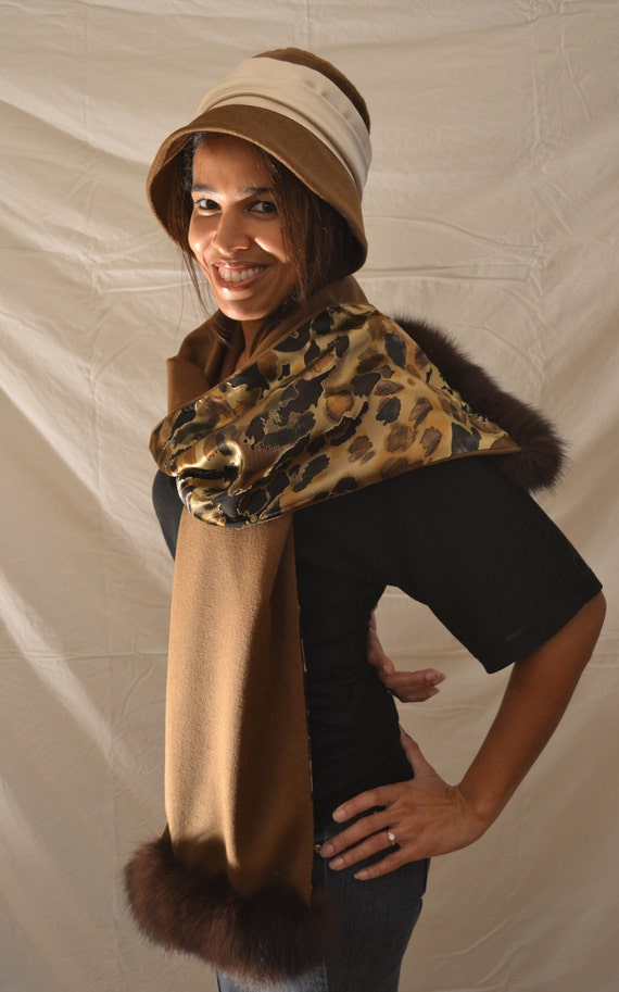 100% Cashmere Reversible Scarf with Genuine Fox Fur Trim and Pure Silk Lining