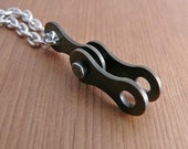 RESERVED for REJEAN - 2 recycled metal bicycle chain wishbone cycling pendants one silver coloured and one dark