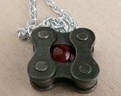 Red black recycled metal bicycle chain pendant bike jewelry