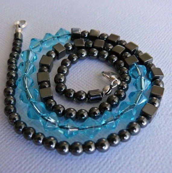 hematite blue glass necklace