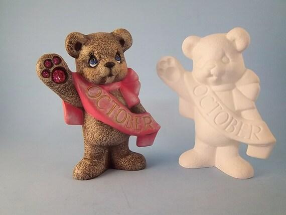 Bizcocho de cer mica birthstone oso de octubre pintar su auto for Bizcochos de ceramica