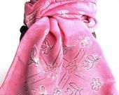 Indian Hand Painted Silk Scarf, Luxury, Pink, textile design, valentine motif - Desert Rose