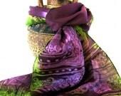 Indian Handpainted Luxury Silk Scarf, Pistachio Green Lavender Pink Purple, Textile design motif - Purple Merry