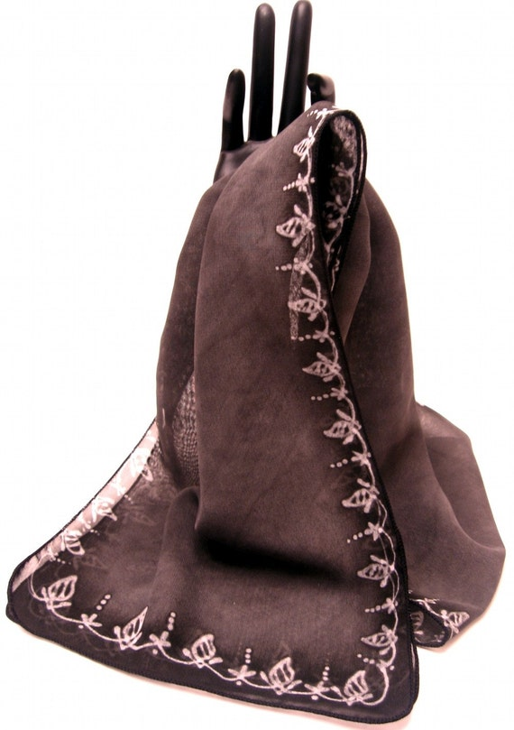 Indian Hand Painted Luxury Silk Scarf, Gray / Black, Sari Border embroidery motif - Oh Tulip