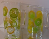 Reserved for Baily - Pair of Vintage Pyrex Cheerful Orange Lemon Slice Pitchers/Carafes