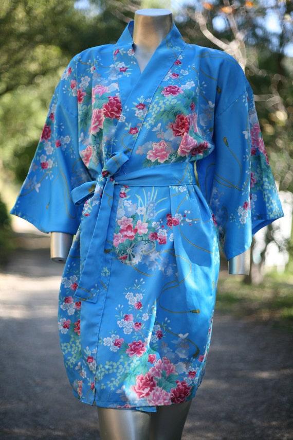 turquoise floral kimono