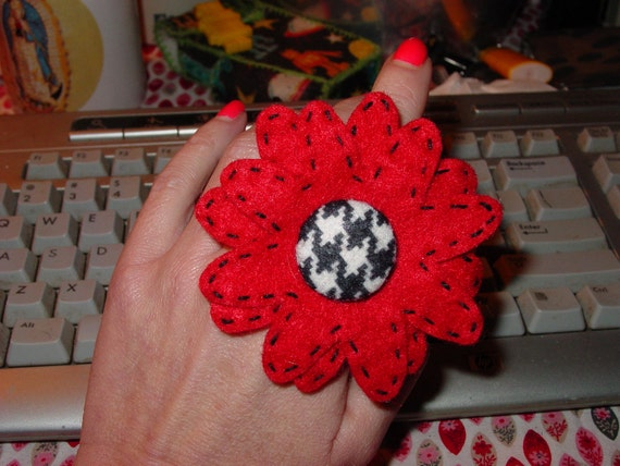 Red and Houndstooth Flower Ring/Ponytail Holder