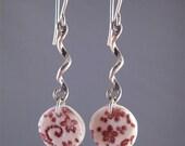 Porcelain w/Sterling Silver Swirls Dangle Earrings
