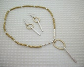 FREE SHIPPING Vintage Silver & Bronze/Gold Fork Tine Necklace and Earring Set