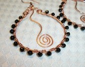 Copper and Black Beaded Hoop Earrings FREE SHIPPING