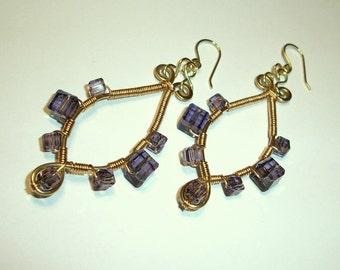 February Birthstone Purple Crystal Beaded Earrings, Free US Shipping