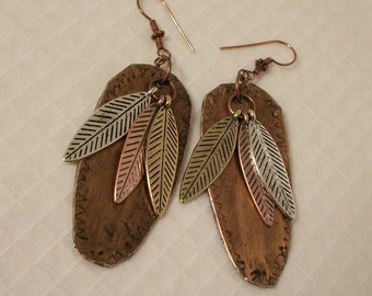 SALE Gold//Copper/Silver Feather Earrings