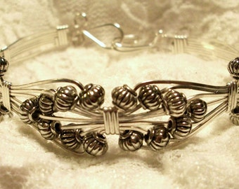 FREE SHIPPING Sterling Silver Filled Bowtie Wire Bracelet