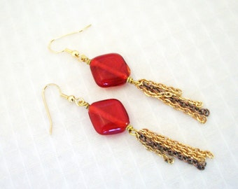 SALE Gold and Red Chain Earrings FREE SHIPPING