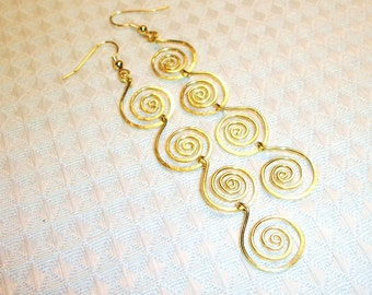 FREE SHIPPING Brass Spiral Earrings