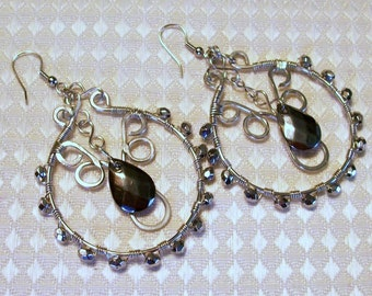 FREE SHIPPING Silver and Hematite Beaded Hoop Earrings