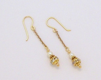 Bridal Ball & Chain Earrings FREE SHIPPING Style FG2