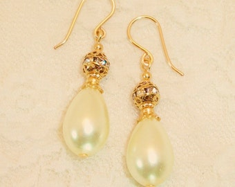 Bridal Pearl and Crystal Gold Earrings FREE SHIPPING Style LG24