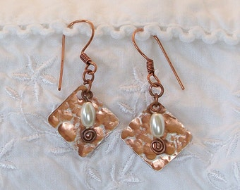 FREE SHIPPING Copper/Silver and Pearl Earrings