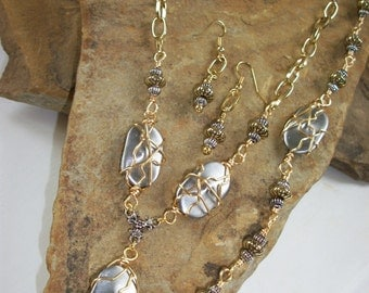 Silver & Gold Wire Wrapped Necklace, Bracelet and Earring Set, Free US Shipping