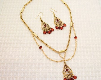 Gold and Brown Necklace and Earring Set FREE SHIPPING