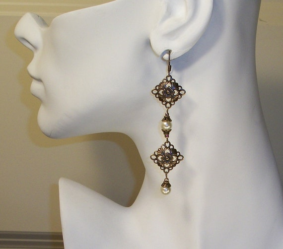 Bridal Diamond Filigree and Crystal Earrings FREE SHIPPING Style IAG2