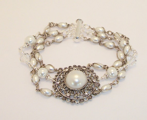 Bridal Antique Silver Pearl Medallion Bracelet FREE SHIPPING Style RAS14