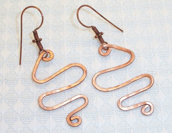 FREE SHIPPING Copper Wire Squiggle Earrings