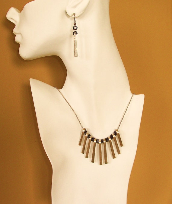 FREE SHIPPING Fork Tine Necklace and Earring Set
