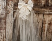 "Ivory or White Lace Bow with veil on a clear comb, matches ""Olga"" and ""Petra"" flower girl dress. First Communion veil"