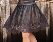 RESERVED for JENNIFER Knee-long Faded blueberry tulle and lace skirt.