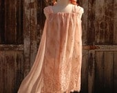"""Flower Girl Dress, Peach Pink Lace with Natural Silk Chiffon and head piece, """"Antique Rose"""", size 7, One-of-a-Kind, Ready-to-Ship"""