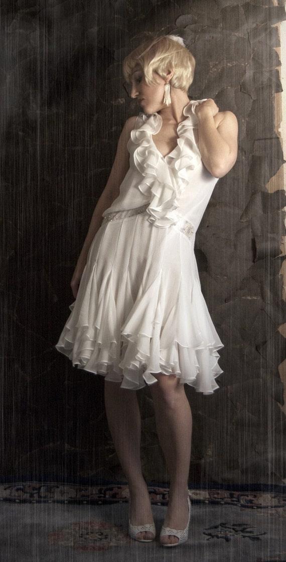 Reserved for anna flapper wedding dress silk chiffon 1920 for Silk chiffon wedding dress