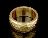 Sil-BRG-005/1 Handmade 1 handforce hammered 24K gold vermeil over sterling silver 8.0mm. band rings