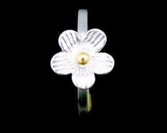 Sil-RJ-004 Handmade 1 flower sterling silver yellow gold plated stacking rings