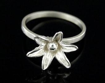 Sil-R-006 Handmade 1 flower sterling silver stacking rings