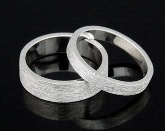 Sil-BR-001/2 Handmade 1 plain 3.0mm. square brushed sterling silver band ring