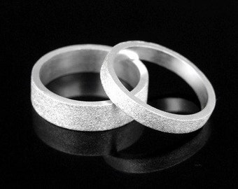 Sil-BR-003/1 Handmade 1 plain 5.0mm. square sand blast sterling silver band ring