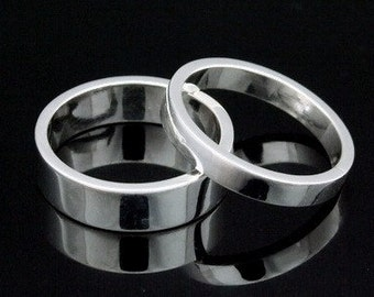 Sil-BR-004/2 Handmade 1 plain 3.0mm. square smooth and shiny finish sterling silver band ring