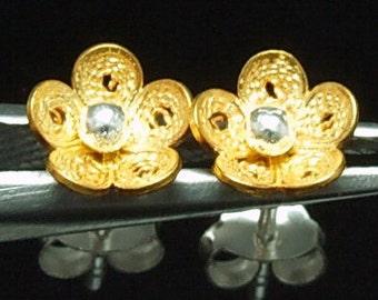 Sil-EG-002 Silver fret flower shape gold vermeil over sterling silver post stud earrings