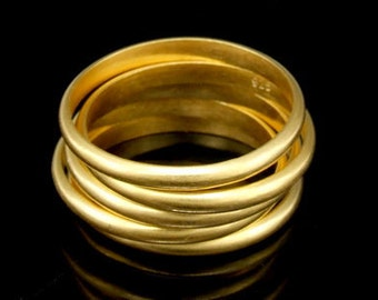 Sil-RG-017 Handmade 5 plain half round sterling 24K gold vermeil on silver stacking rings