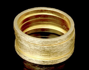 Sil-RG-013 Handmade 5 plain square brushed 24K gold vermeil on silver brushed band rings