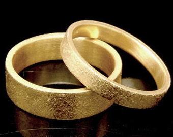 Sil-BRG-003/1 Handmade 1 plain 5.0mm. sandblast 24K gold vermeil over sterling silver band ring