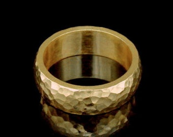 Sil-BRG-005/2 Handmade 1 handforce hammered 24K gold vermeil over sterling silver 6.0mm. band rings