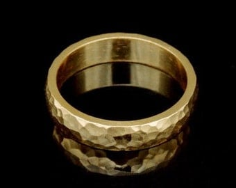 Sil-BRG-005/4 Handmade 1 handforce hammered 24K gold vermeil over sterling silver 4.0mm. band rings