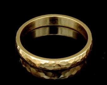 Sil-BRG-005/5 Handmade 1 handforce hammered 24K gold vermeil over sterling silver 3.0mm. band rings